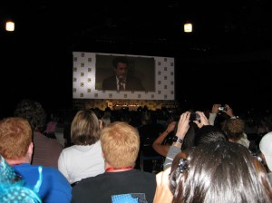 Robert Downey Jr.'s face fills Hall H.