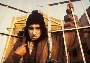 Alice Cooper as a homeless disciple of Satan.