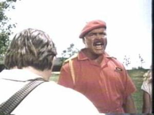 Dick Butkus as the racist, homophobic fast food drill instructor, Drootin!