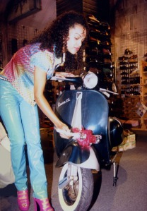 The lovely Brook Kerr with the Ska-scooter.