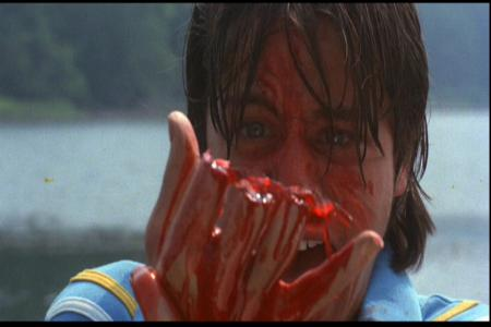 FISHER STEVENS loses his fingers during the infamous RAFT SCENE.
