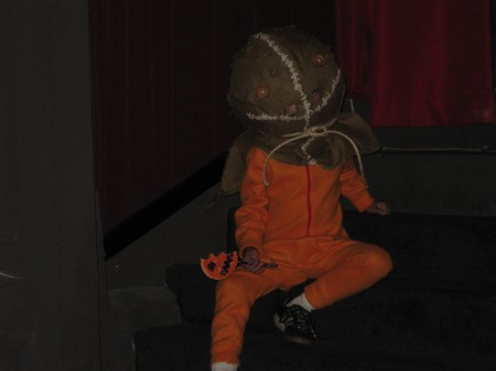 That's SAM hanging out at the New Bev's TRICK 'R TREAT screening.